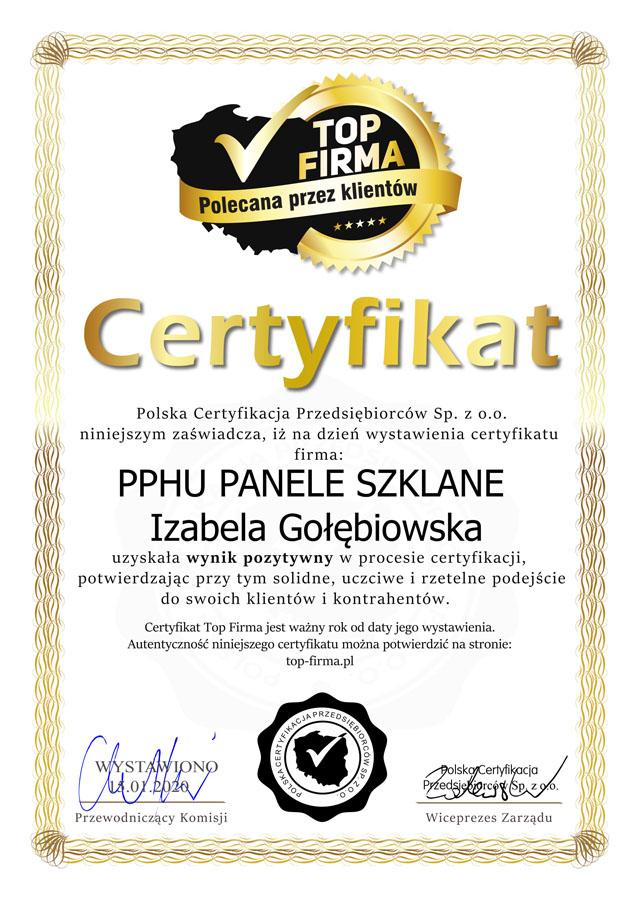 Top Firma - Certyfikat