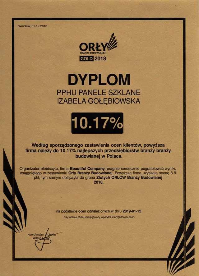 Orły Branży Budowlanej - Dyplom